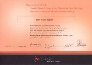 n-Ergie Zertifikat Klaus Buckel